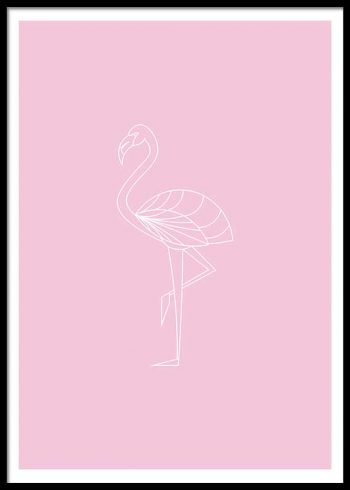 FLAMINGO LINE DRAWING POSTER
